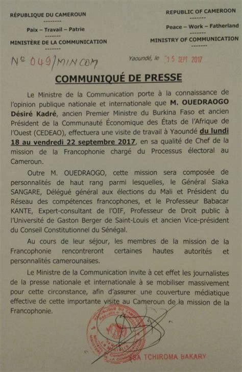 Cameroon Calendrier 2018 Pr 233 Sidentielle 2018 Une Mission De La Francophonie Au