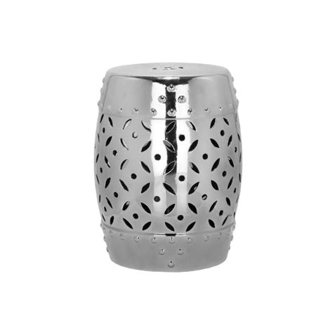 Safavieh Coin Garden Stool by Safavieh Castle Gardens Collection Lattice Coin Ceramic