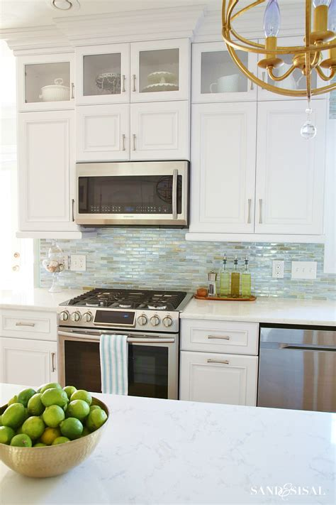Coastal Kitchen Cabinets Coastal Kitchen Makeover The Reveal Backsplash For Kitchen Glasses And Cabinets