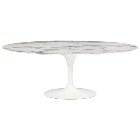 Large Oval Marble Tulip Dining Table By Eero Saarinen For Oval Tulip Dining Table