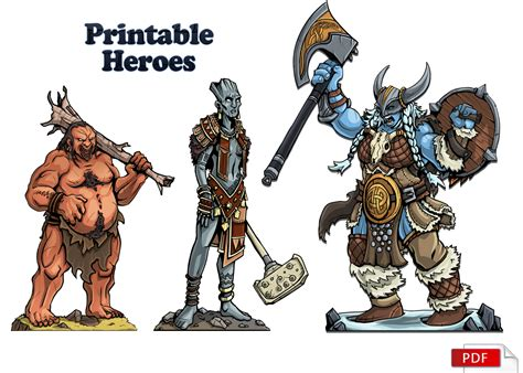 printable heroes printable heroes august s set of free paper miniatures