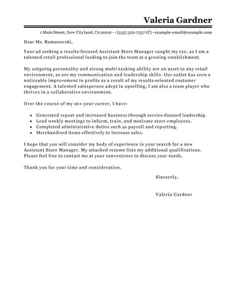Assistant Manager Retail Cover Letter by Leading Professional Assistant Store Manager Cover Letter Exles Resources