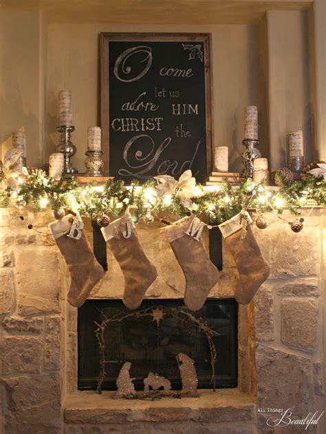 country christmas mantel decorating ideas all things beautiful home tour handmade decor ideas