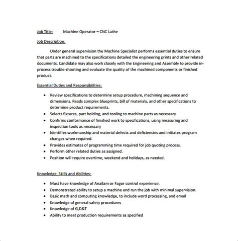 Machine Operator Description For Resume by Machine Operator Description Resume Press Operator