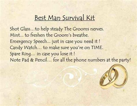 Funny best man survival kit poem   wedding ideas   Pinterest