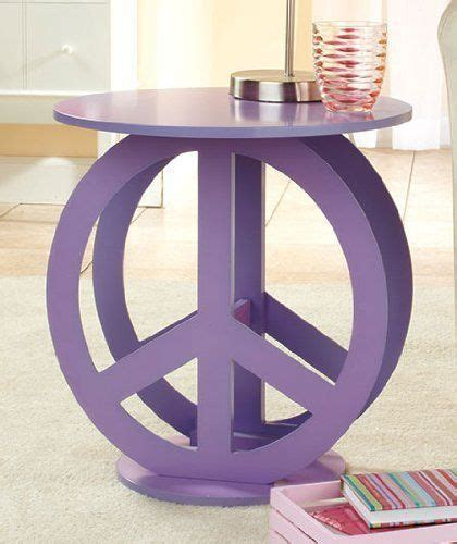 peace sign decorations for bedrooms peace sign purple end accent table display stand preteen