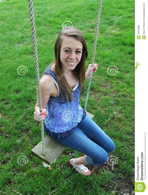 girls on swings teenage girl on swing royalty free stock photo image