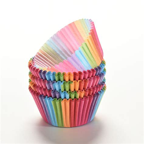 rainbow color cake cup liner cupcake muffin baking paper