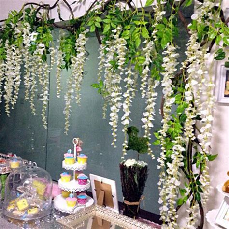 Artificial Flower Home Decor home wisteria white vine artificial plants hanging wedding