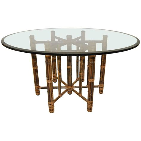rattan glass top dining table glass top rattan dining table by mcguire at 1stdibs