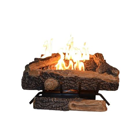 Gas Fireplace Embers Home Depot by Emberglow Oakwood 24 In Vent Free Propane Gas Fireplace Logs Ovm21lp The Home Depot