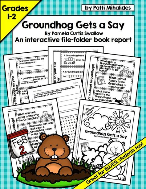file folder book report groundhog gets a say an interactive file folder book