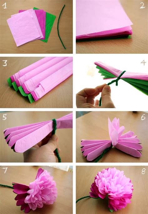 Flowers With Tissue Paper And Pipe Cleaner - guidefordreamers diy tissue paper peony flower flower