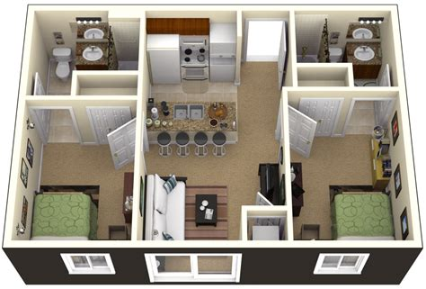 House Design Two Bedroom One Bedroom House Plans 3d Search Home Sweet