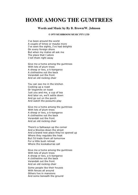 home amongst the gum trees lyrics