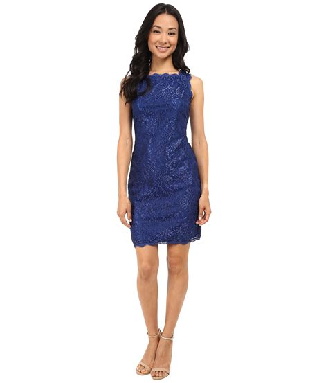 Sleeveless Lace Cocktail Dress lyst papell sleeveless lace cocktail dress in blue