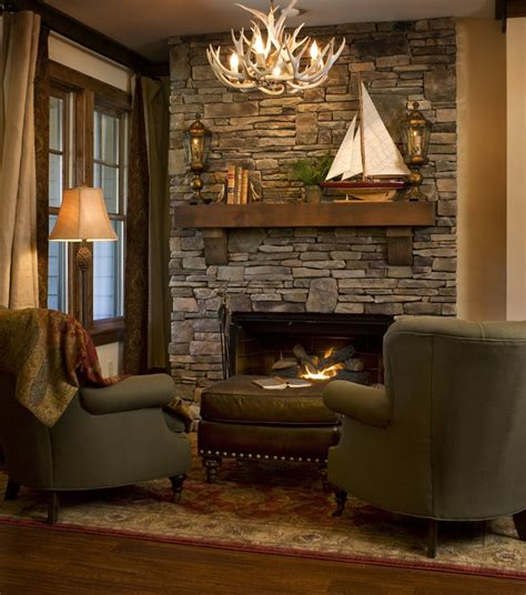 Built In Bookcases Next To Fireplace 38 Rustic Country Cabins With A Stone Fireplace For A