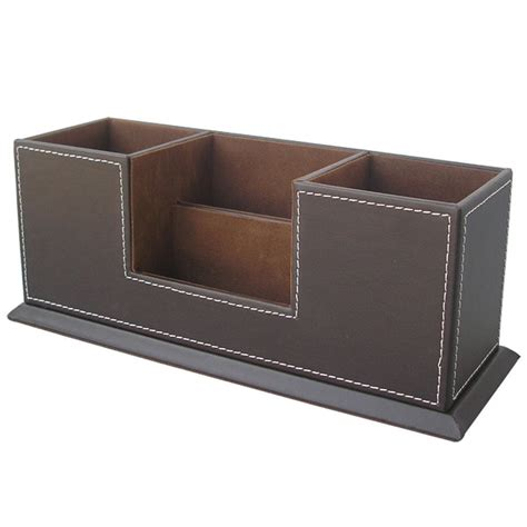 Leather Office Desk Organizer Keeps Supplies And Desktop Leather Desk Organizer