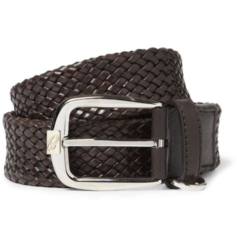 brioni woven leather belt in brown for lyst