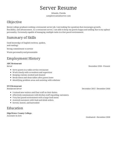 resume objective bartending position sidemcicek com