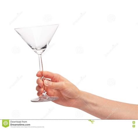 birthday martini white background female hand holding empty clean martini glass against