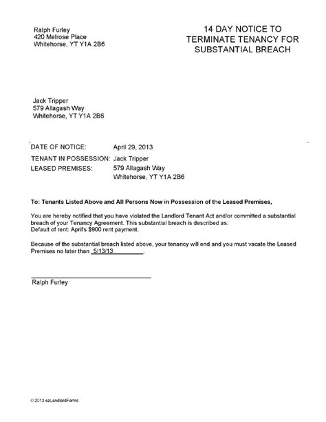 notice lease termination letter from landlord tenant