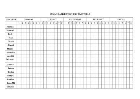 blank table chart