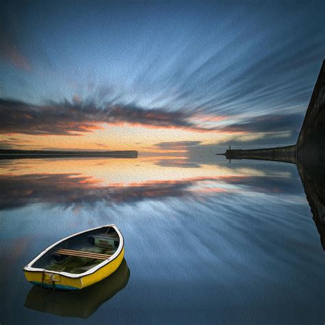 find a boat at sea single boat floating on water during sunrise over sea with