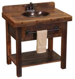 barnwood open vanity with towel bar rustic bathroom