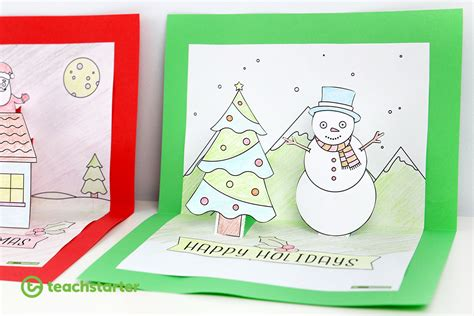 Christmas Craft Summer And Winter Pop Up Card Templates Pop Up Card Templates 2