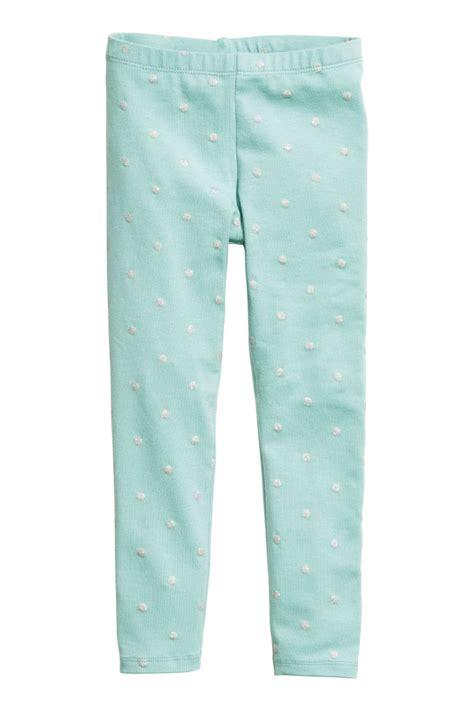 green patterned leggings patterned leggings mint green dotted sale h m us