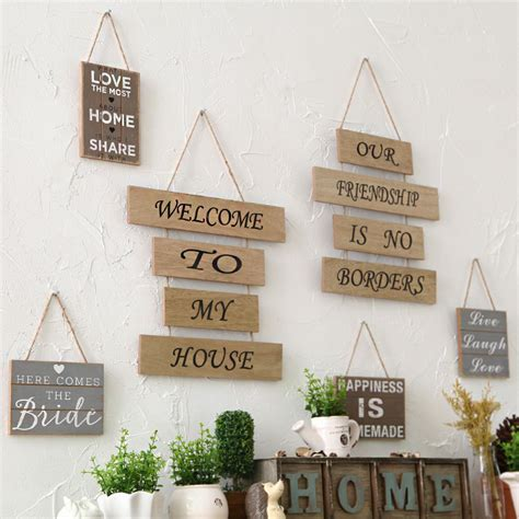 Home Decor Signs And Plaques Creative Household Adornment Wall Hanging Plaque Sign Decor Home Garden Wood Crafts Decoration
