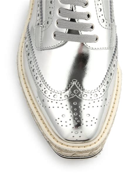 Prada Mix Colour Set 2 In 1 8078 prada espadrille rubber platform metallic brogues in metallic for lyst