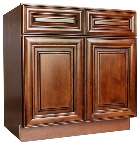 42 Inch Base Kitchen Cabinet 42 Quot Sink Base Cabinets Chocolate Glaze Traditional Kitchen Cabinetry