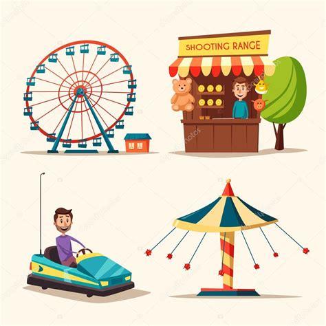 cartoon themes vector amusement park theme cartoon vector illustration stock