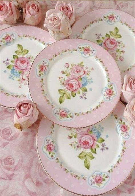 Shabby Chic Dinner Plates Shabby Chic Dinner Plates Pink And White With Pink Roses