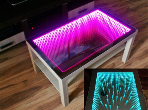 Kaca Mulut Led Mirror With Led birch table led 3d coffeetable illuminated infinity mirror tunnel effect ebay