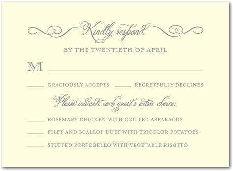 wedding rsvp menu choice template sle rsvp with dinner choices wedding invites