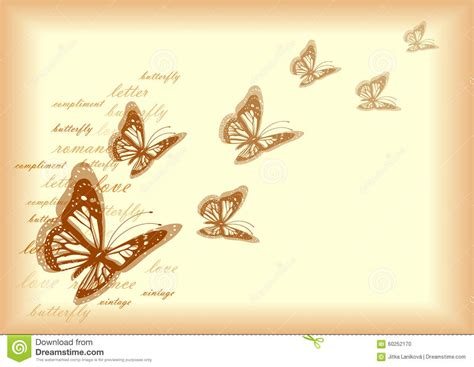 design background letter vintage letter paper design with butterflies stock vector