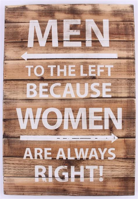 3d Wall Stickers For Kids wood sign men to the left because women are always right