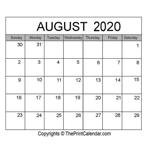 august  printable calendar template  word excel