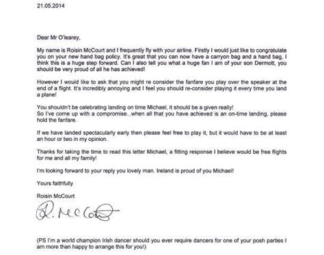 Complaint Letter Exle Ryanair Coventry Free Radio Roisin S Cheeky Letter To Ryanair Gets Response From Airline