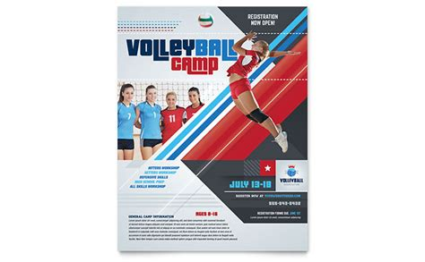 Volleyball C Flyer Template Design Sports Program Template Microsoft Word