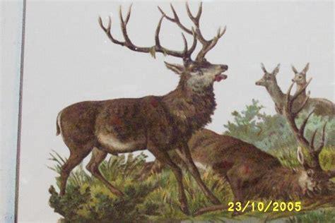 rarevictorian paper large stag deer hunting scenedie