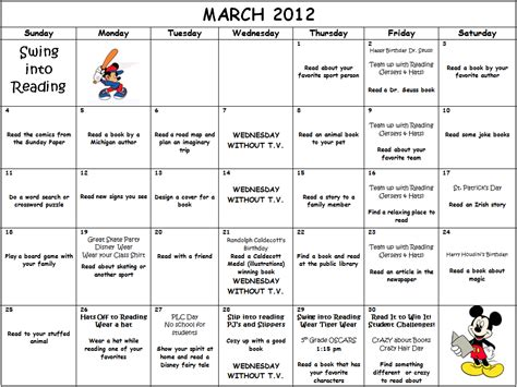 Elementary Reading Log Calendar March - march is reading month calendar activities and reading