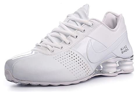 nike shox leather shoes all white lib value