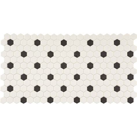 Cork Laminate Flooring by Daltile Keystones Blends Hexagon White With Black Dots 1 X