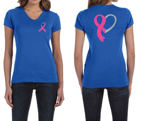 Tshirt Beatbox Navy Buy Side shirt pink ribbon front back print v neck