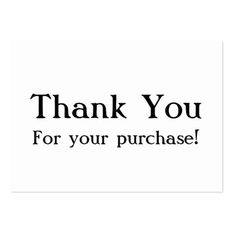 White Thank You For Your Purchase Cards Large Business Cards Pack Of 100 Zazzle Thank You For Your Business Card Template