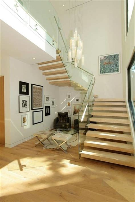 foyer lighting high ceiling modern staircase miami